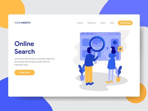 Ilustração de pesquisa online para páginas da web