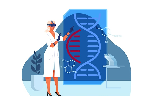 Ilustração de pesquisas médicas e de saúde inovadoras. conceito de tratamento da medicina moderna, expertize, diagnóstico. ambiente virtual e robótico em hospital.