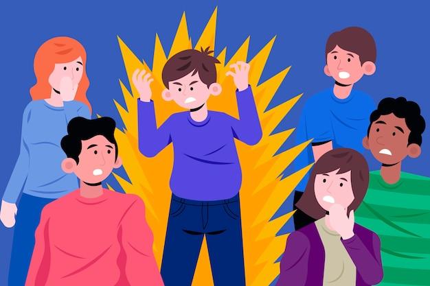 Ilustração de pessoa com raiva na multidão