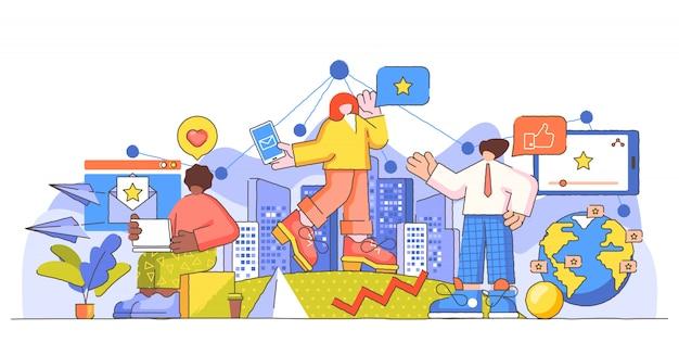 Ilustração de pessoa criativa peculiares de marketing grandes membros