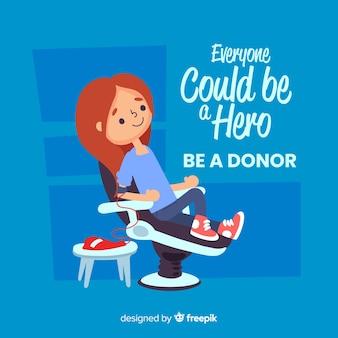 Ilustração, de, pessoa, doando sangue