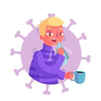 Ilustração de pessoa tosse