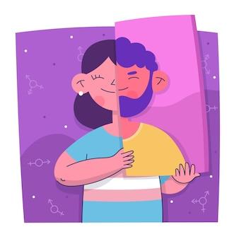 Ilustração de pessoa transgênero de design plano