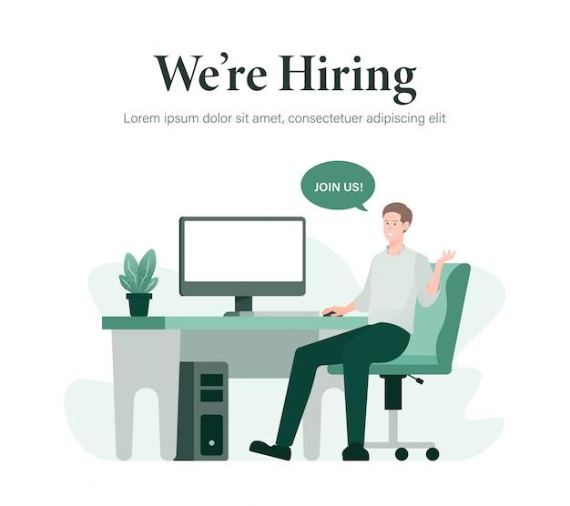 Ilustração de pessoal e recrutamento de negócios
