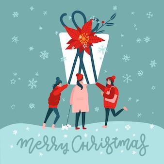 Ilustração de pessoas abrindo um presente de natal