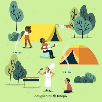 Ilustração de pessoas acampando