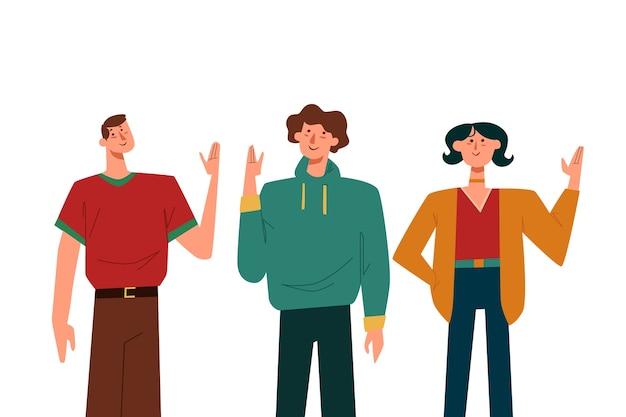 Ilustração de pessoas acenando a mão