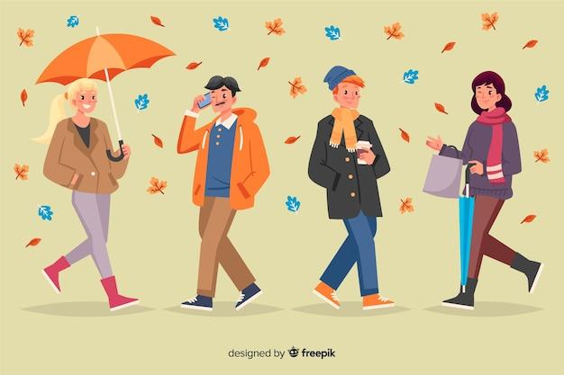Ilustração, de, pessoas andando, em, outono