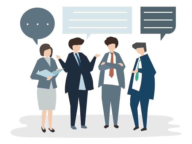 Ilustração, de, pessoas, avatar, reunião negócio, conceptbrain