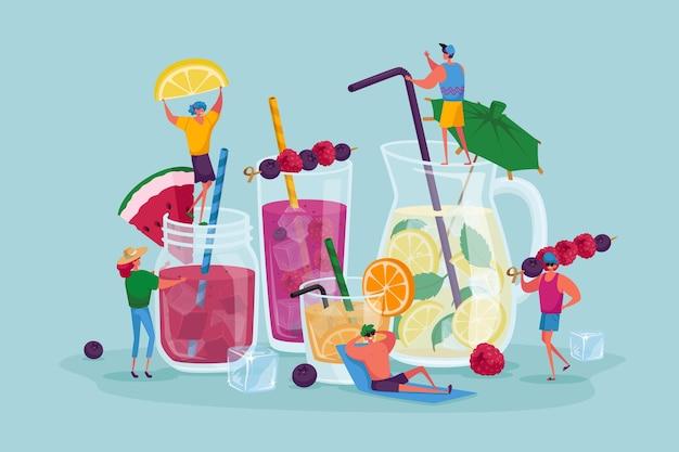 Ilustração de pessoas bebendo bebidas frias