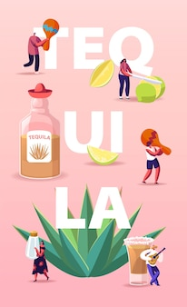 Ilustração de pessoas bebendo tequila com pequenos personagens