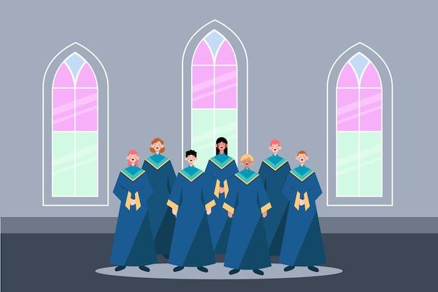 Ilustração de pessoas cantando em um coral gospel