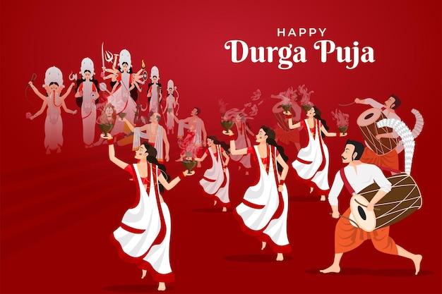 Ilustração de pessoas celebrando o feliz durga puja subh navratri com dança dhunuchi na música dhak
