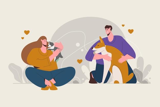 Ilustração de pessoas com animais de estimação
