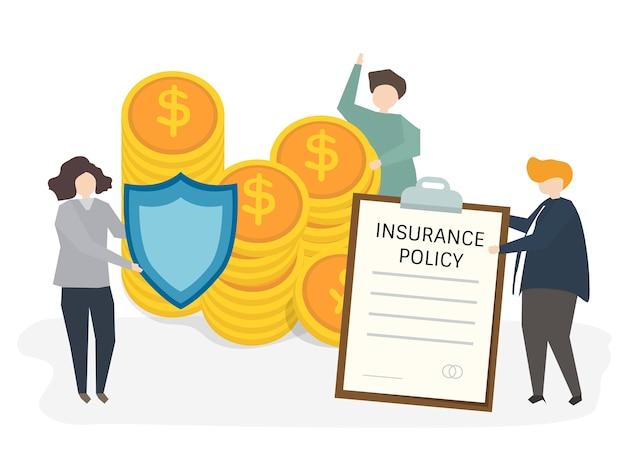 Ilustração de pessoas com apólice de seguro