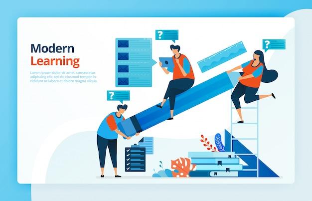Ilustração de pessoas com aprendizagem moderna baseada na internet, as pessoas levantaram grandes lápis, curiosidade do aluno.