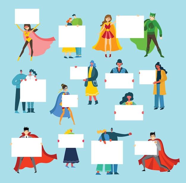Ilustração de pessoas com banner