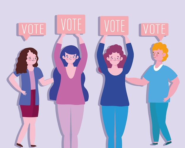 Ilustração de pessoas com cartaz de voto eleições democracia