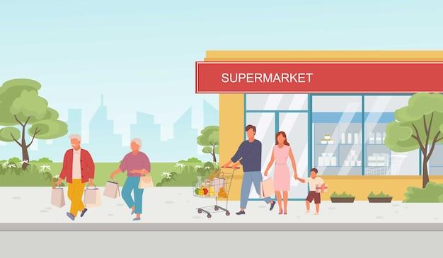 Ilustração de pessoas com compras em supermercados