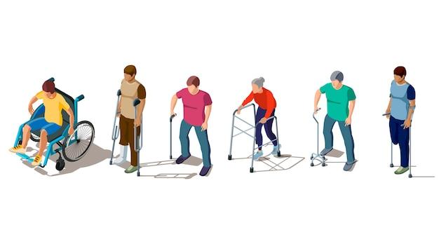 Ilustração de pessoas com deficiência e de muletas
