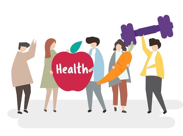 Ilustração de pessoas com estilo de vida saudável