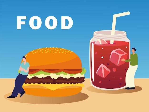 Ilustração de pessoas com hambúrguer e suco não saudável e saborosa de fast food