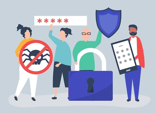 Ilustração de pessoas com ícones de privacidade e segurança