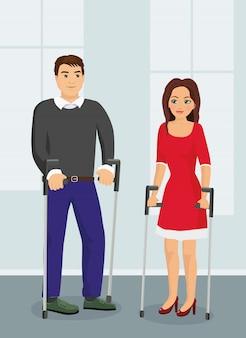 Ilustração de pessoas com muletas. disabad homem e mulher falando na rua em estilo simples.