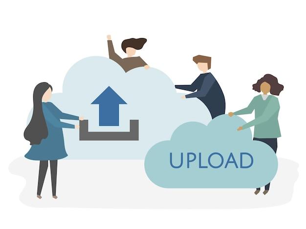 Ilustração de pessoas com o símbolo de upload