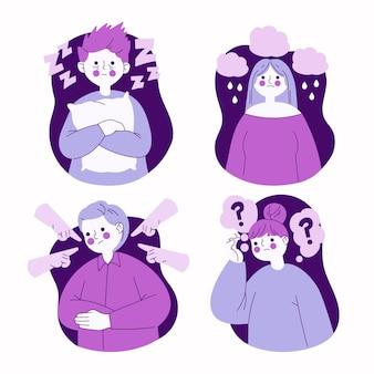 Ilustração de pessoas com problemas de saúde mental