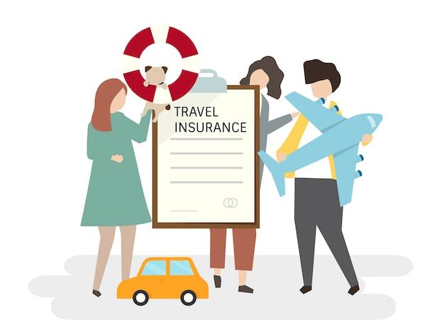Ilustração de pessoas com seguro de viagem