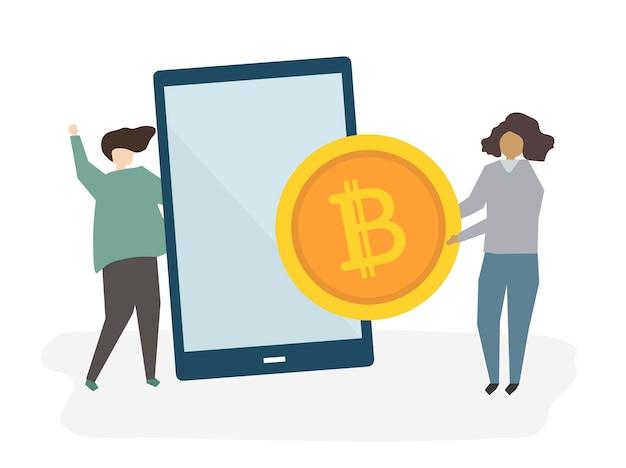 Ilustração de pessoas com serviços bancários on-line