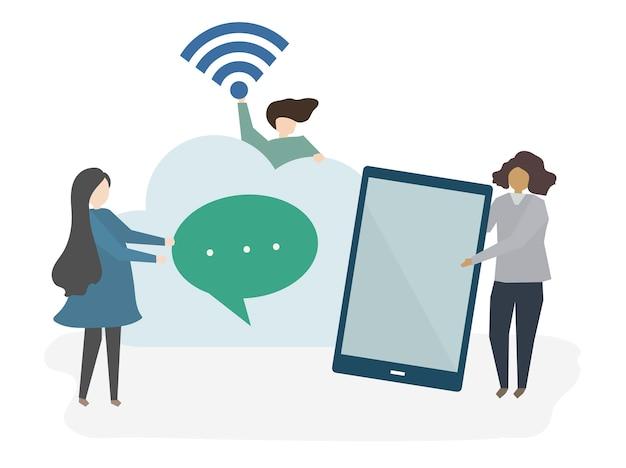 Ilustração, de, pessoas, com, tecnologia