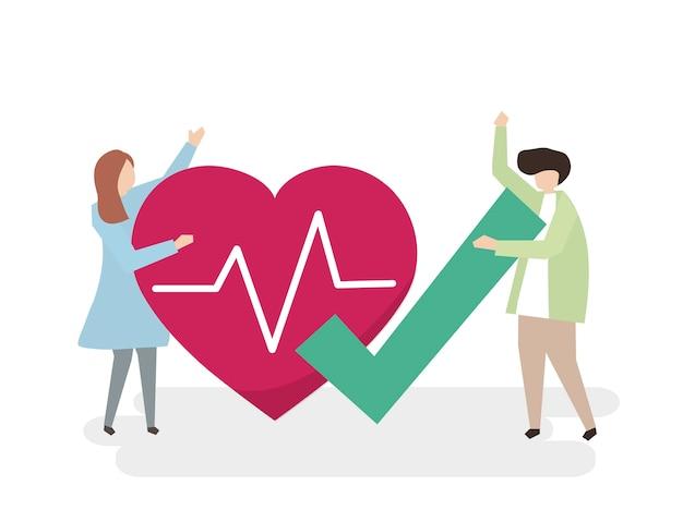 Ilustração de pessoas com um coração saudável