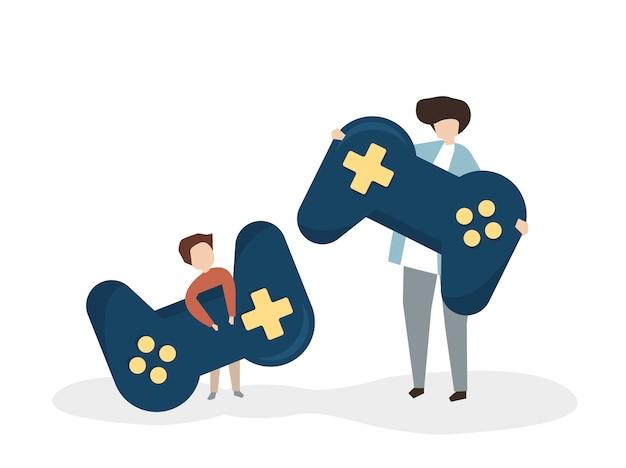 Ilustração, de, pessoas, com, um, joystick