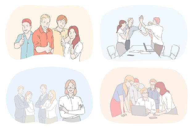 Ilustração de pessoas cooworking.