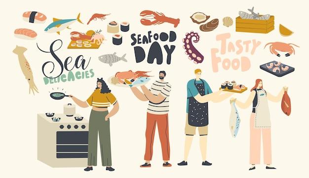 Ilustração de pessoas cozinhando frutos do mar
