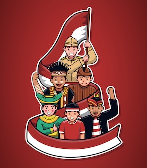 Ilustração de pessoas culturais indonésias com fita bandeira
