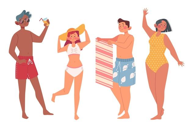 Ilustração de pessoas da praia