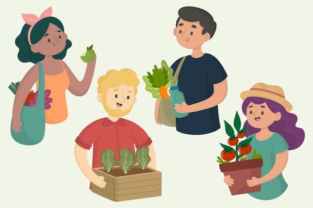 Ilustração de pessoas de estilo de vida verde