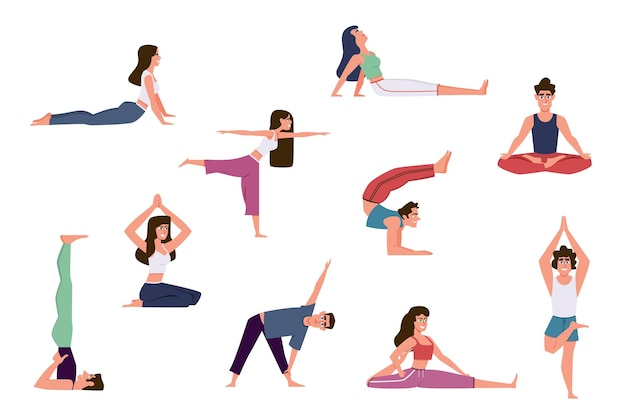 Ilustração de pessoas de ioga