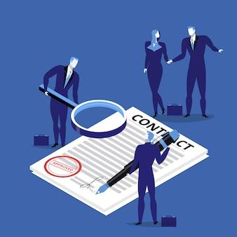 Ilustração de pessoas de negócios, assinando contrato.