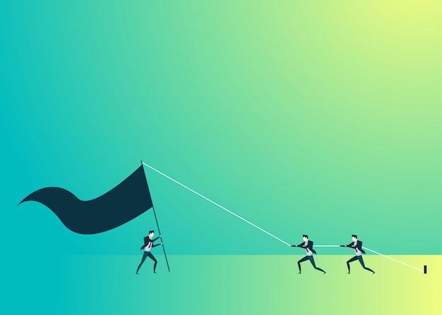 Ilustração de pessoas de negócios do trabalho em equipe levantar a bandeira