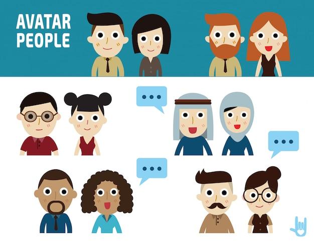 Ilustração de pessoas de negócios. ícones de design plano de personagem de retrato.