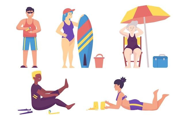 Ilustração de pessoas de praia