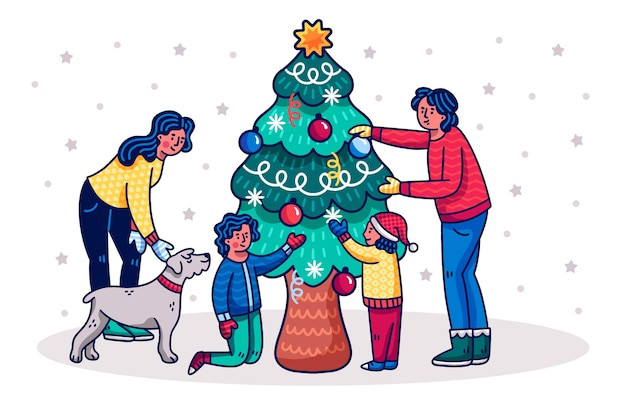 Ilustração de pessoas decorando a árvore