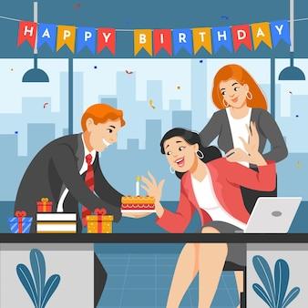 Ilustração de pessoas desenhadas à mão comemorando aniversário