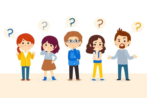 Ilustração de pessoas desenhadas à mão fazendo perguntas