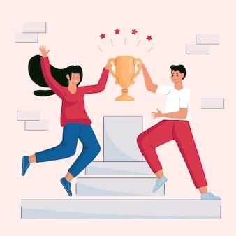 Ilustração de pessoas desenhadas à mão plana comemorando a realização de uma meta
