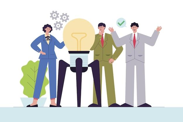 Ilustração de pessoas desenhadas à mão plana iniciando um projeto de negócios